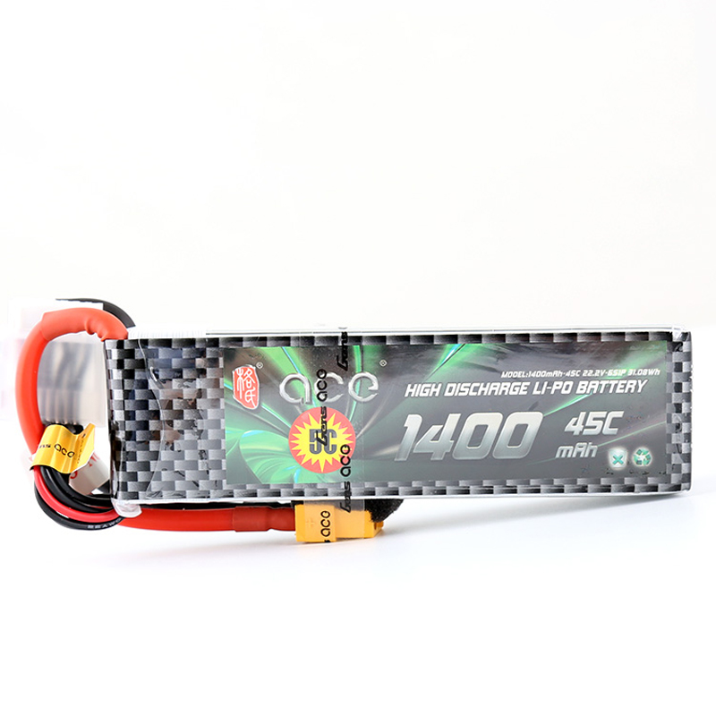 ACE 1400mAh 6S 22.2V 45C-90C Lipo Battery with T Connector XT60 Plug for YaTuo 450 Helicopter Fixed Wing Drone Airplane image