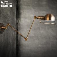 American loft Metal Plating Iron Vintage industrial wall light Long swing arm telescopic adjustable sconces wall lamp brass