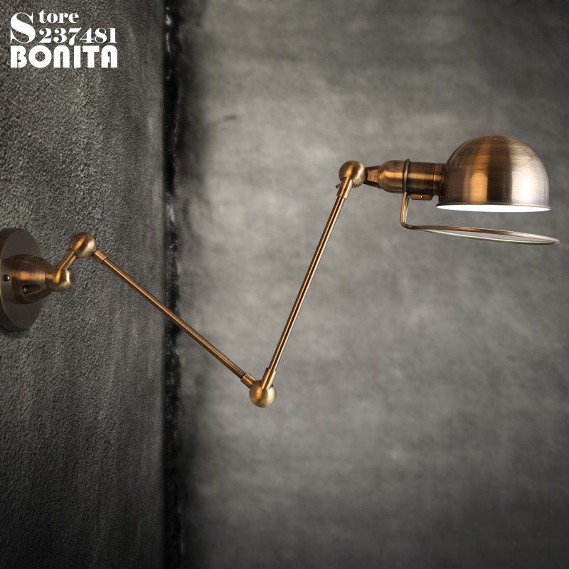 American loft Metal Plating Iron Vintage industrial wall light Long swing arm telescopic adjustable sconces wall lamp brass retractable wall sconce iron wall lamp loft vintage telescopic wall sconces extend arm wall light swing arm led light