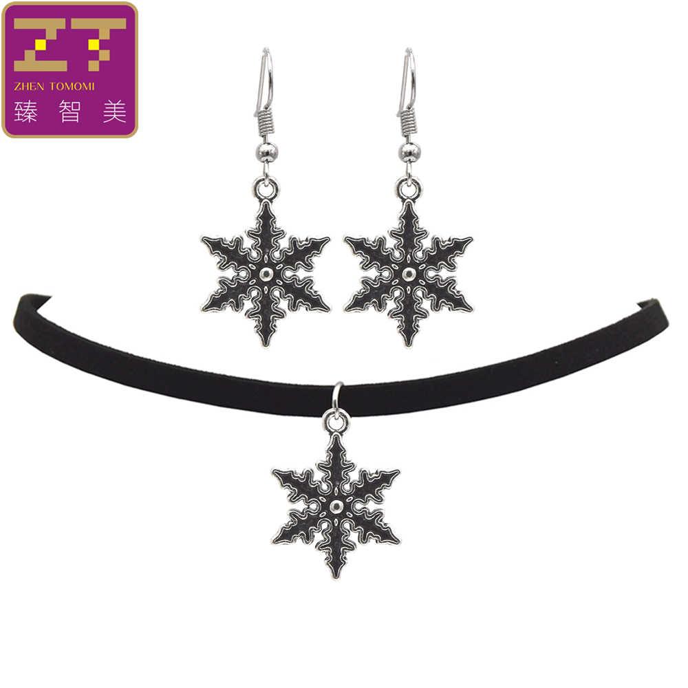 2019 mode noir velours cuir Bijoux Vintage rétro flocon de neige collier ras du cou/boucles d'oreilles femmes Bijoux ensembles à la mode fête