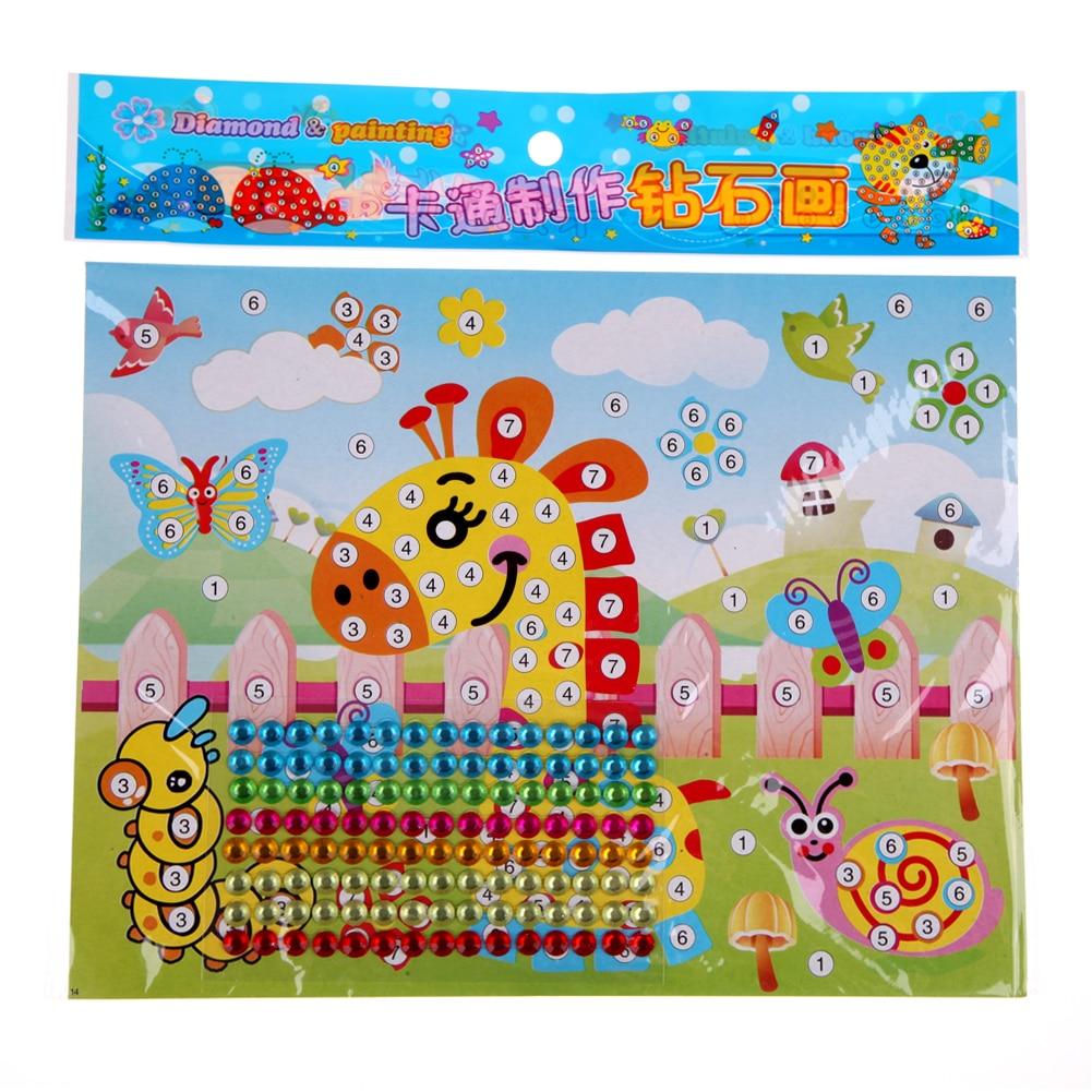 2pcs Diamond Sticker Handmade DIY Puzzle Toys Mosaic Sticker Crystal Paste Painting Education Toy Graffiti Stickers for Child