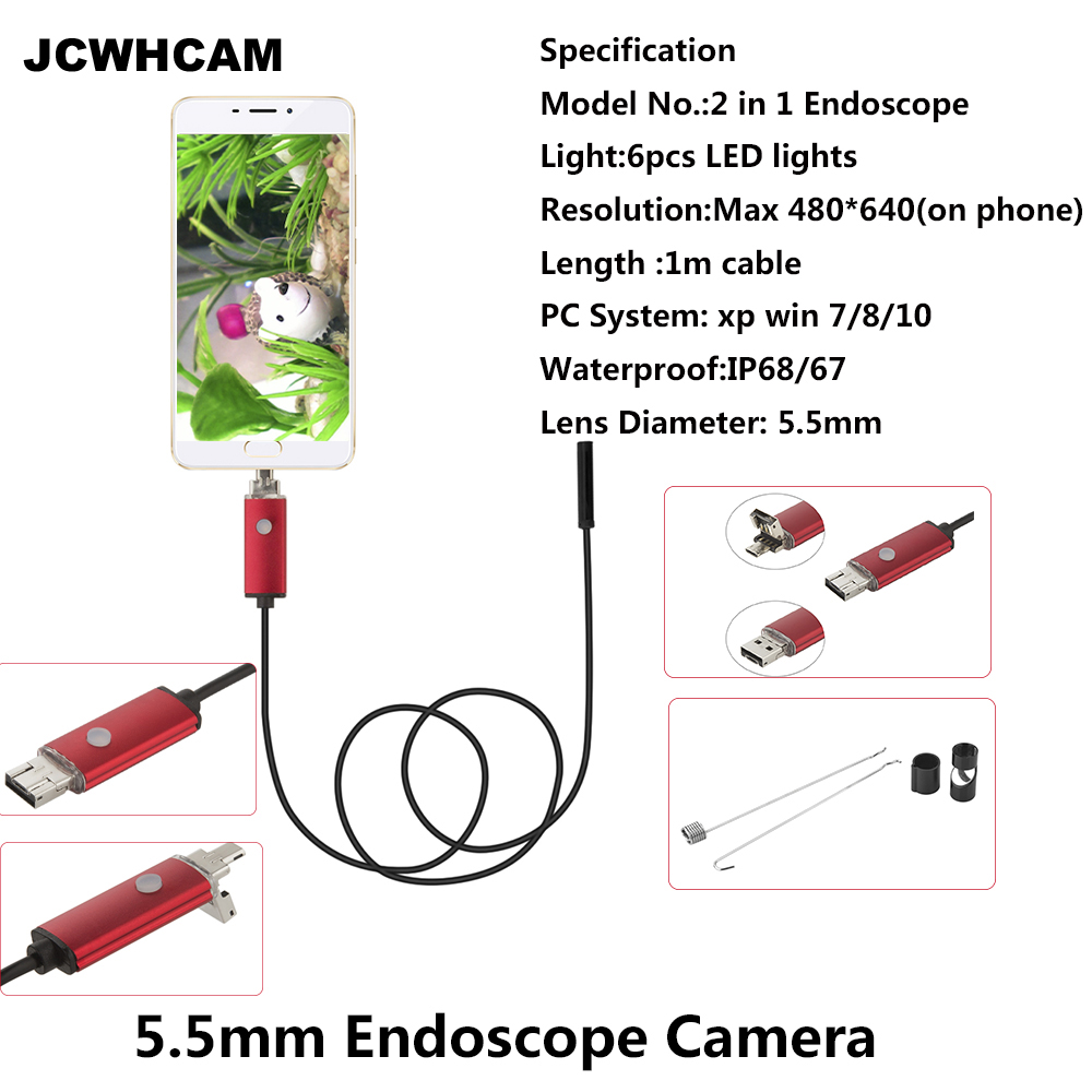 JCWHCAM 1M 5.5mm 2 in 1 Endoscope USB Inspection Camera Waterproof Wire Borescope for Android Smartphone Industrial Tools 7mm lens mini usb android endoscope camera waterproof snake tube 2m inspection micro usb borescope android phone endoskop camera