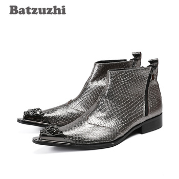 Batzuzhi Japanese Style Handmade Men Boots Metal Pointed Toe Grey Genuine Leather Men Boots Ankle Party Wedding Botas Hombre!