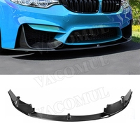 Carbon Fiber Front bumper Lip Splitters for BMW 3 Series F80 M3 4Series F82 F83 M4 2014 2017 FRP black unpainted