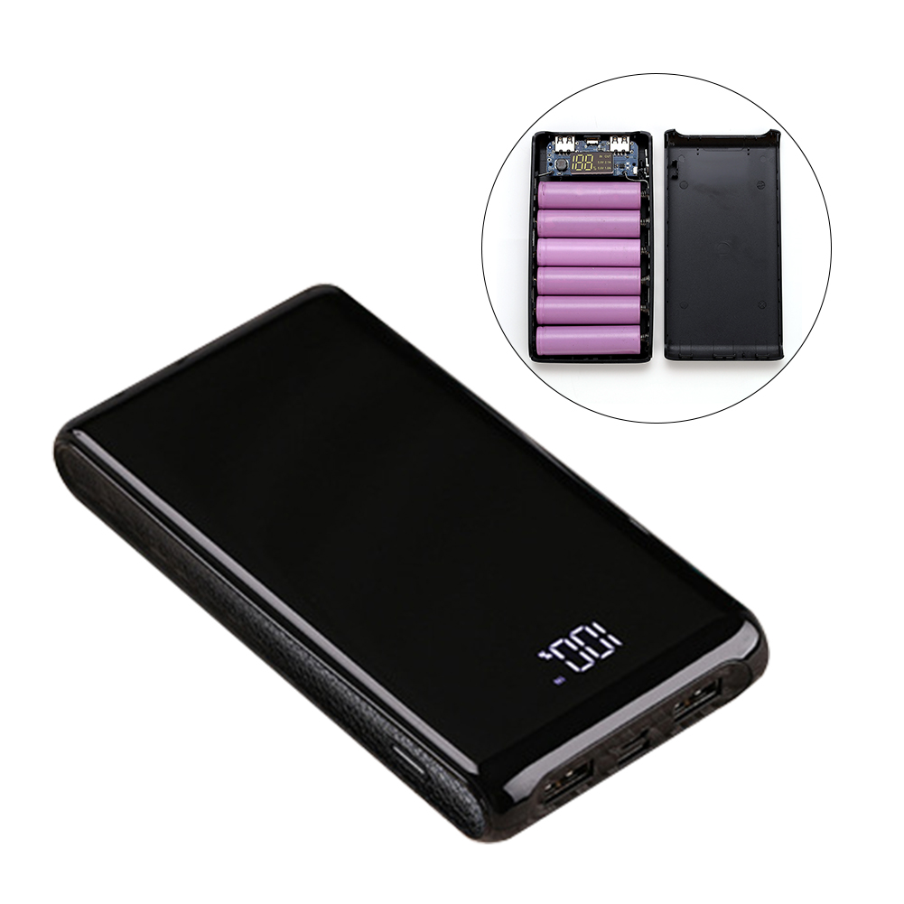 6 Sections Black Portable DIY Kit Dual Interface Digital Display Battery Holder 18650 Power Bank Case Charger Box Housing Mobile