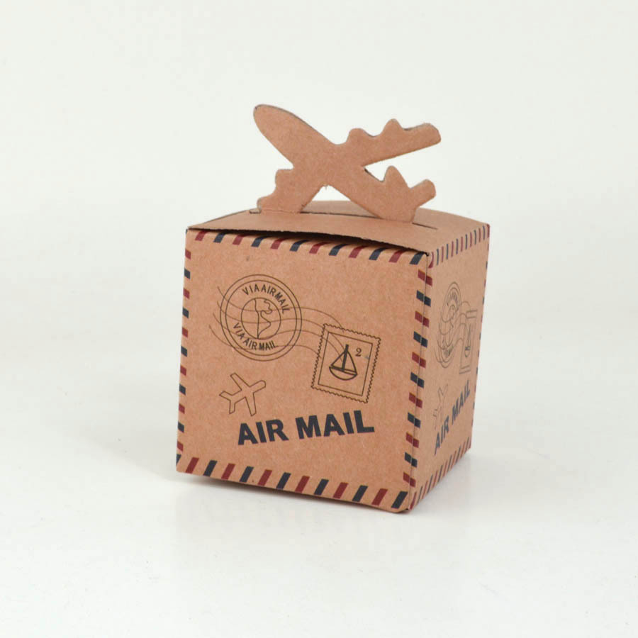 200pcs Kraft Paper Airplane Candy Box Air Mail Wedding Travel Theme Decoration Baby Shower Souvenirs Party Favors Gift Box