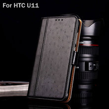 for HTC U11 case Luxury Ostrich Leather capa with Stand fashion hit color phone Cases for for HTC U11 funda Flip cover coque