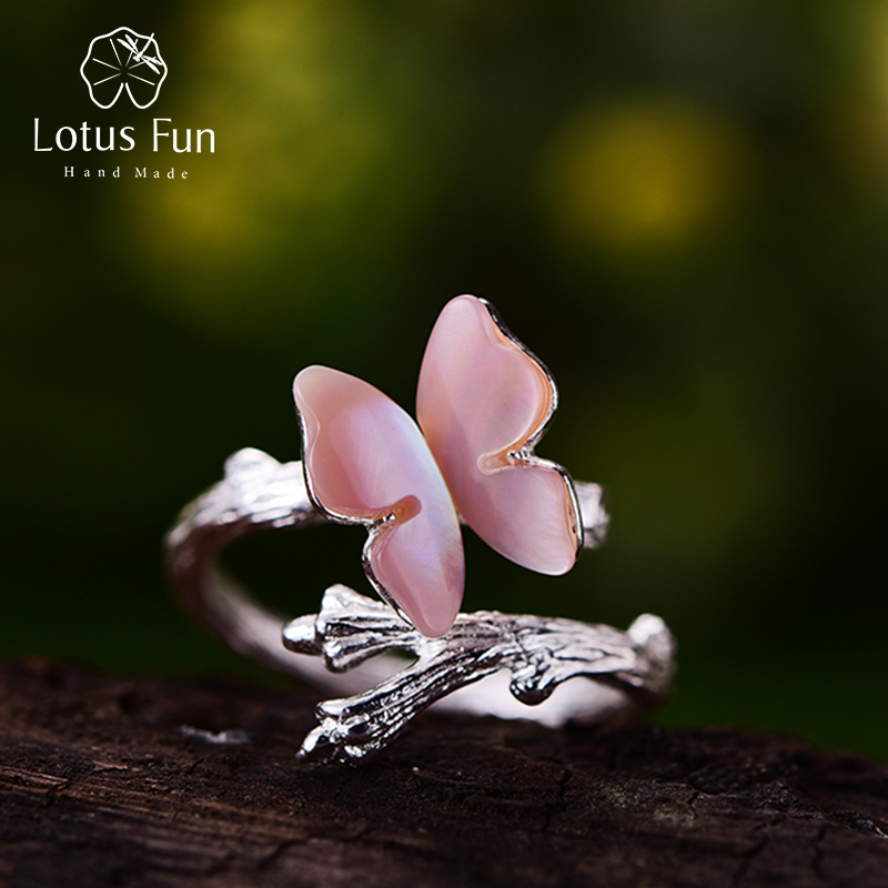 Lotus Fun Real 925 Sterling Silver Natural Original Handmade Designer Fine Jewelry Cute Butterfly on Branch Female Rings Bijoux