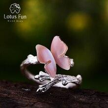 Lotus zabawy prawdziwe 925 srebrny pierścień naturalny oryginalny projektant biżuterii śliczny motyl na gałęzi otwarte pierścienie dla kobiet