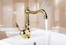 Недавно Дизайн 8654 К/4 Золотой Кухня Поворотный умывальник бортике одно отверстие Керамический Одной ручкой смеситель кран