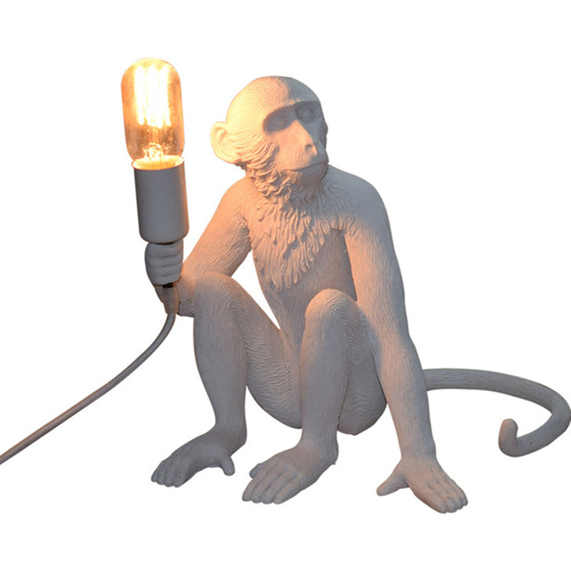 Modern Loft Vintage Resin Monkey Desk Lamp Industrial Retro E27 Edison Table Light for Bedroom Study Decorate Lighting