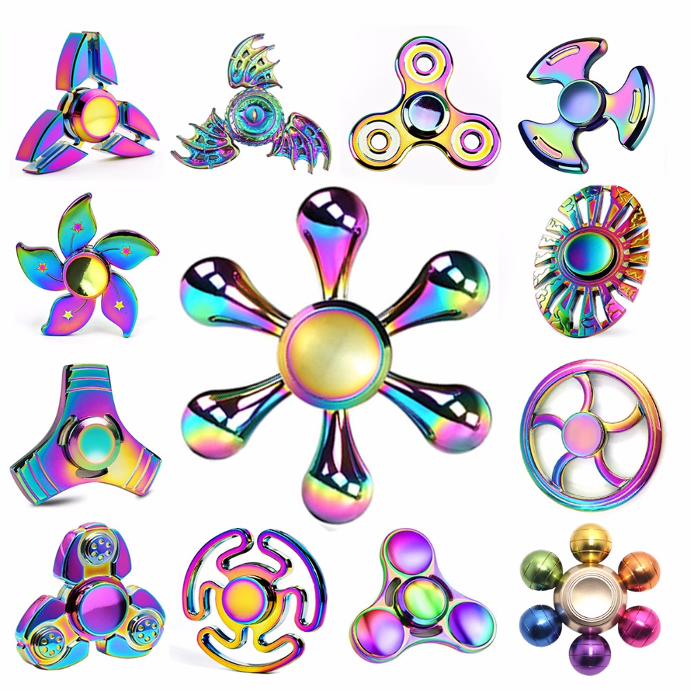 Double Bearing Metal Fingertip Gyro Anti Stress Toys Spiner Finger Snowflake V1 Hand Spinner Or Fidget R188 Newest Rainbow Colorful Fantastic Adult Cool Mixture Child Relax