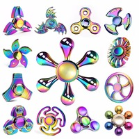 Newest Rainbow Metal Fidget Spinner Colorful Hand Finger Fantastic Spinner Gyro Adult Cool Mixture Child Relax Toy Kid Gift