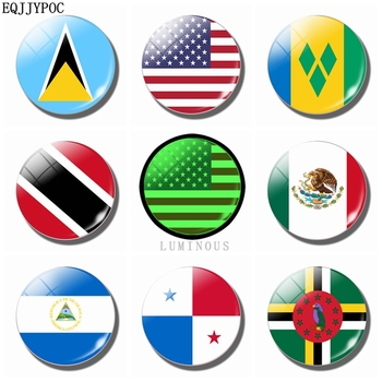 North American Flag 30MM Refrigerator Magnet Luminous Fridge decor Glass Saint Lucia Mexico Nicaragua Panama Dominique Souvenir image