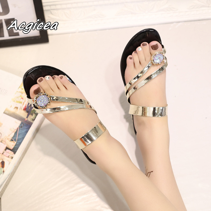 2018 summer Women flat Slides cozy sandals shoes rubber PU adhesive flat with flat bottom Non-slip Flat with slippers f022 2016 summer style transparent sandals white gauze flat point diamond women s sandals flat shoes non slip soft bottom shose