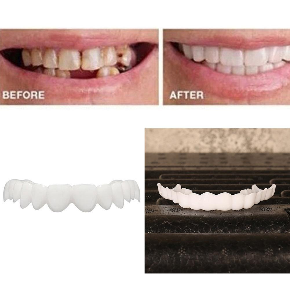 Whitening Perfect Smile Veneer Down Teeth Fake Tooth Cover On Smile Instant Teeth Cosmetic Denture Care for Upper One Size Fits 3