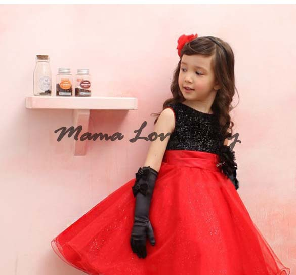 2014 Chirstmas Kids Girl Dress rojo negro Baby Girl princesa ...