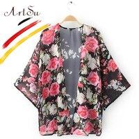 ArtSu Europe Vintage Women Kimono Chiffon Blouse 2017 Floral Women S Shirt Blouses Blusas Spring Autumn