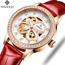 WISHDOIT Fashion Elegant Women Mechanical Wrist Watch Leather Watchband Female Automatic Clock Crystal Decoration Skeleton Dial стоимость