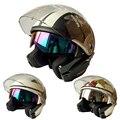 Doble Lente de La Motocicleta Open Face Casco Casque Capacete casco Motor Gana 803