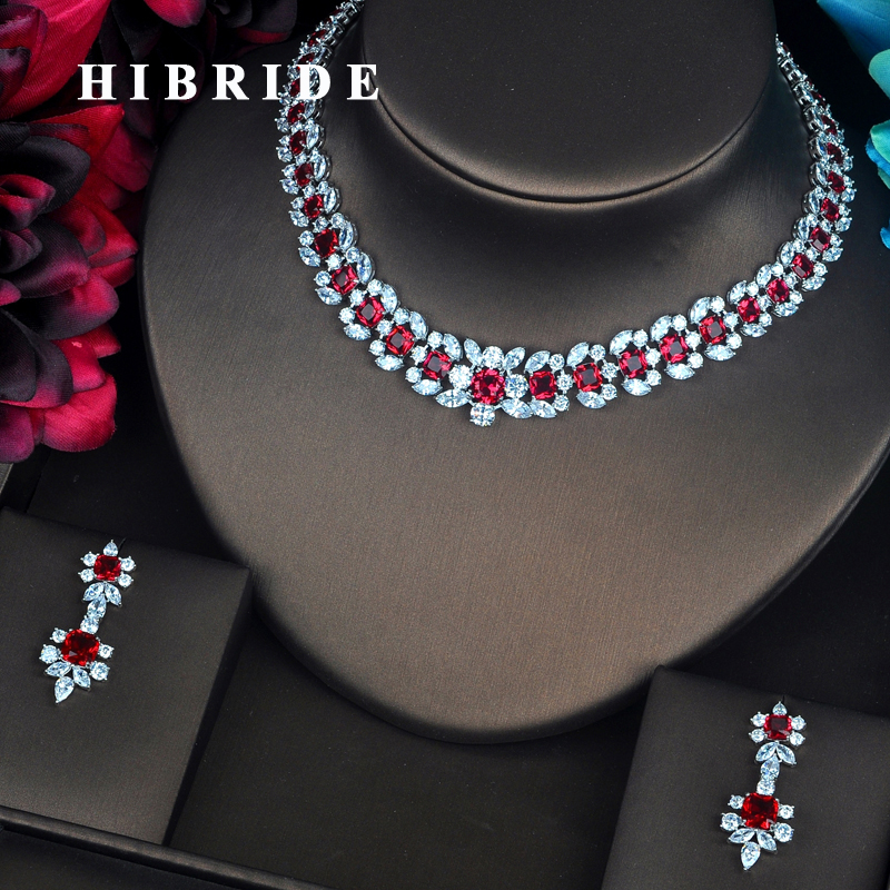 HIBRIDE Luxury Garland Shape Red CZ Jewelry Sets For Women Bride Necklace Set Wedding Jewelry Dress Accessories Wholesale N-404HIBRIDE Luxury Garland Shape Red CZ Jewelry Sets For Women Bride Necklace Set Wedding Jewelry Dress Accessories Wholesale N-404