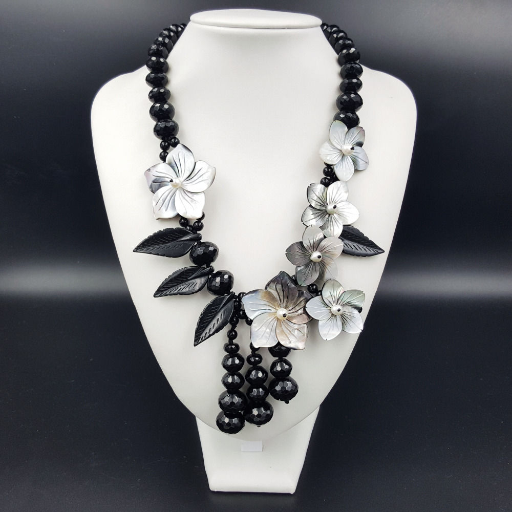 NEW Natural Stone Black Quartz stone Freshwater Pearl Shell Flowers Necklace 20inch