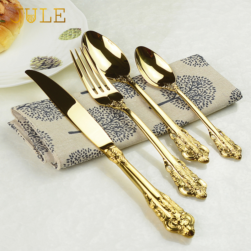Vintage Western Gold Plated Bestikk 24pcs Dining Knives Gafler Teskjeer Set Golden Luxury Dinnerware Gravering Servise Sett
