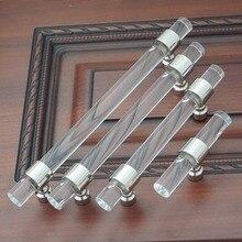 3.75 5 6.3 Dresser Pulls Drawer Handle Acrylic Clear Silver Kitchen Cabinet Door Pull Knob Hardware