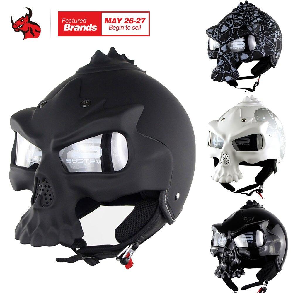 Зоман Череп мотоциклетный шлем Новинка Ретро шлем двойной линзы мотоцикл половина шлем личные Мото шлем черный