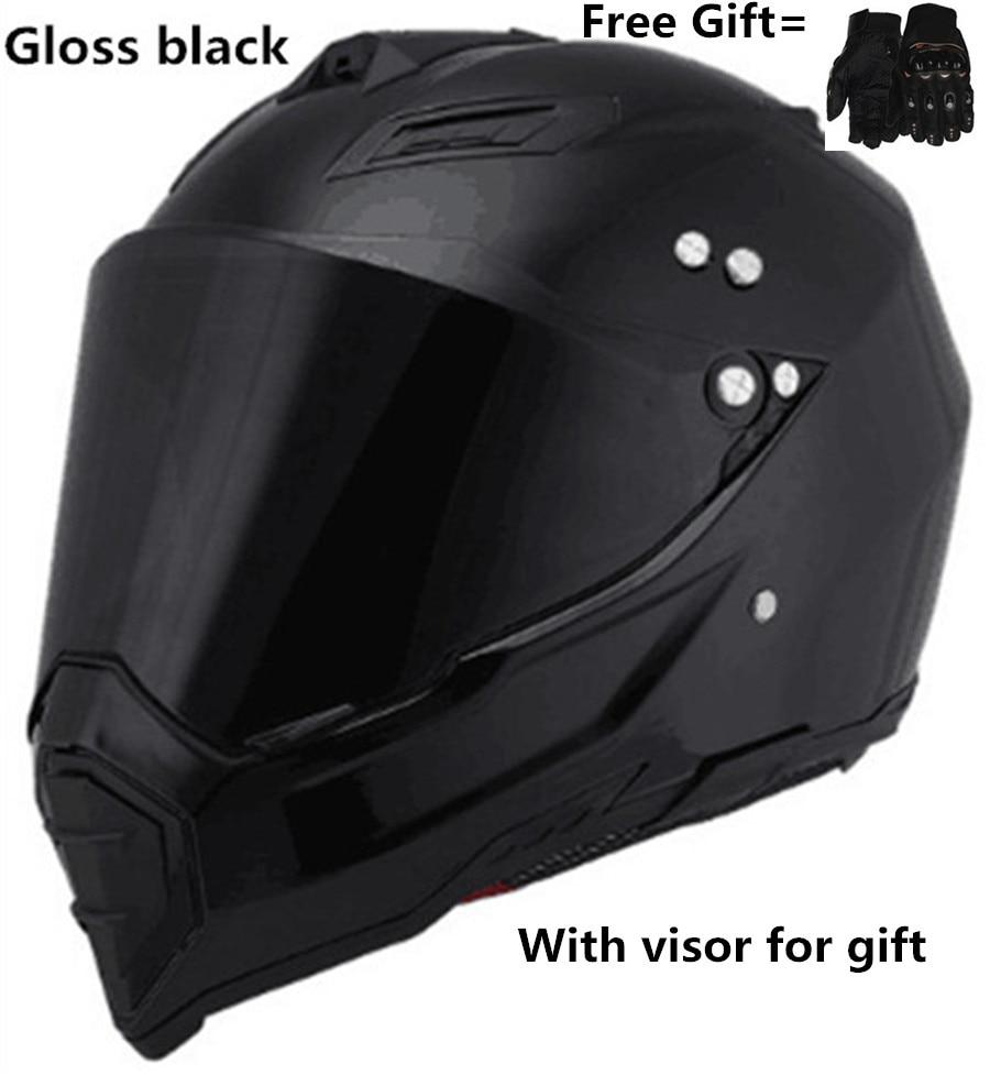 Casque de moto tout-terrain noir Mate double Sport tout-terrain vélo de saleté ATV D.O.T certifié (M, bleu) casco intégral pour moto sport