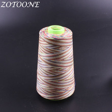 ZOTOONE Sewing Threads Polyester Rainbow Cord Hand Thread For Leather Knitting Diy Jeans Supplies 1500M/Roll E