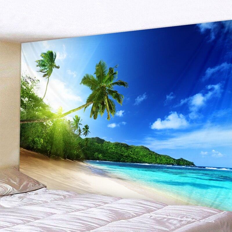 Tenture plage et océan 1 Tapisserie murale avec motif arbre vert ensoleill d coration murale style boh me style Hippie bon