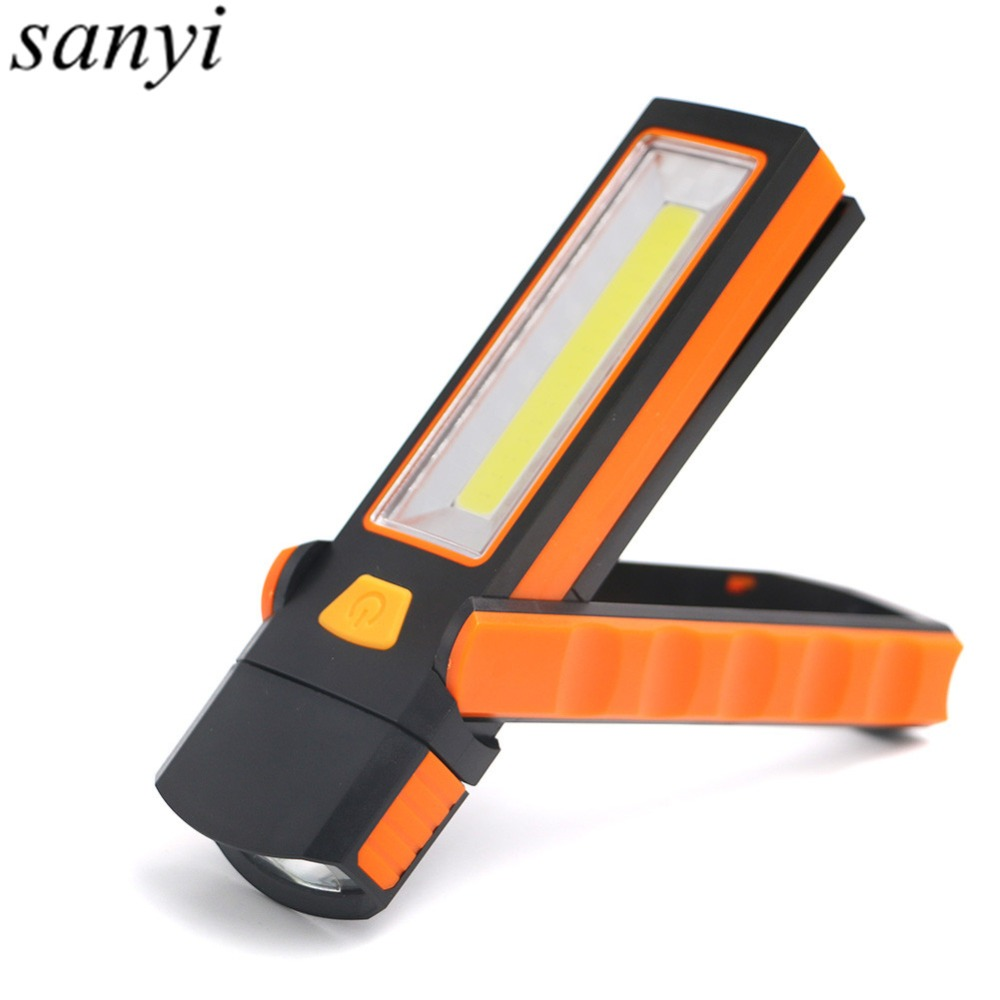 Portable LED+COB Magnet Flashlight Handy Working Light Lamp Multi-function Rotatable LED Flashlight With Hook By 4*AAA