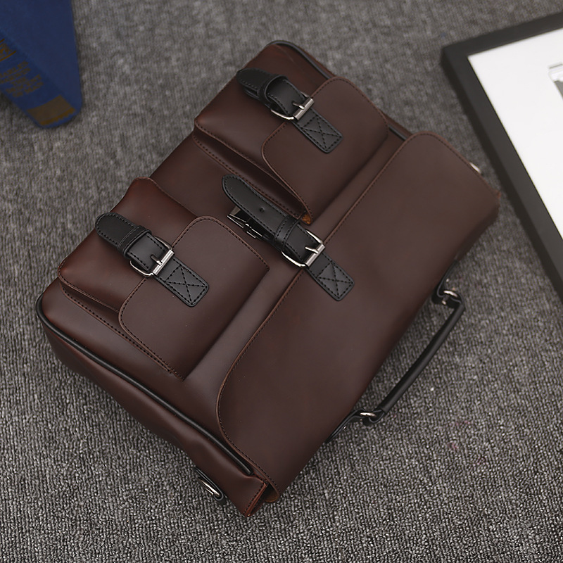 New Vintage PU Leather Men's Briefcase Laptop Shoulder Bag Business Bags Vintage Handmade Briefcase Men Crossbody Bag Wholesale