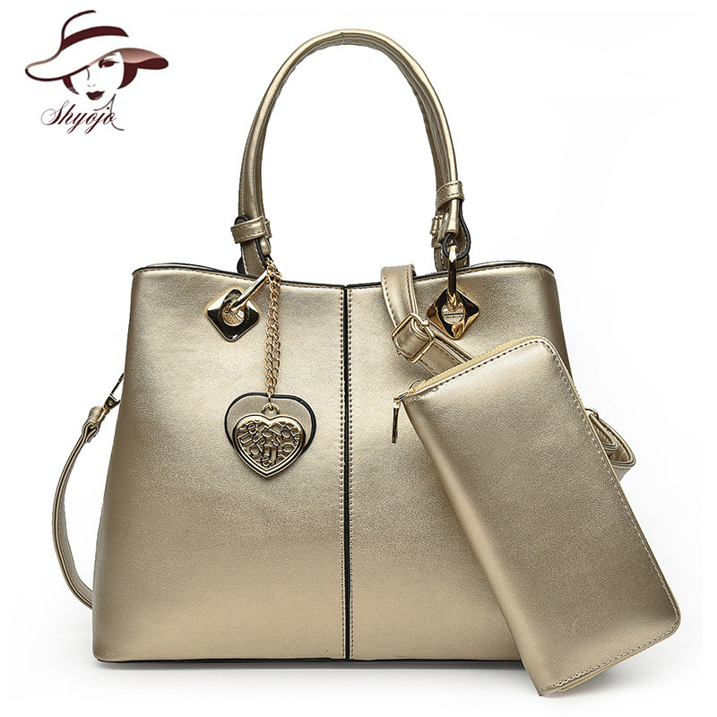 Composite Bag Women 2 PCS/Set Handbag Female PU Leather Tote Heart Pendant Women Solid Shoulder Bags Ladies Messenger Bag Wallet high quality tote bag composite bag 2