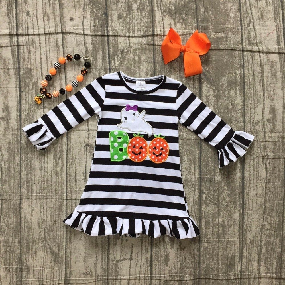 baby girls Fall dress Halloween dress children girls black stripes Boo with ghost dress children boutique dress with accessories black dress with cold shoulder