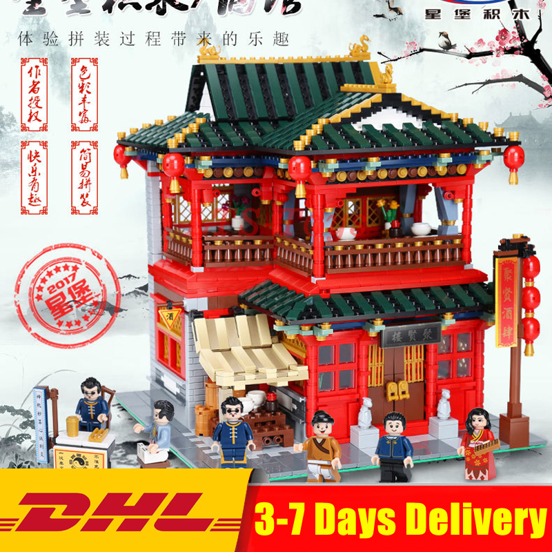 IN STOCK DHL Xingbao 01002 3267Pcs MOC Creative The Beautiful Tavern Set Children Building Blocks Bricks Boy Toys Model Gift