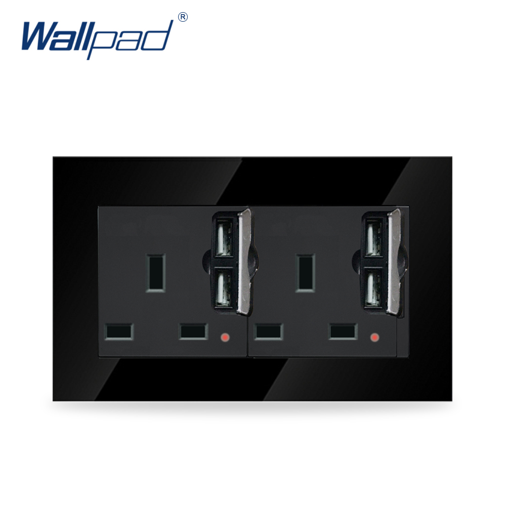 Wallpad Luxury Black Crystal Glass Frame 146*86mm Double 13A UK Socket with Four USB Wall Chargers 146 double 13a uk switched socket wallpad crystal glass panel 110v 250v 146 86mm uk standard wall socket plug power outlet