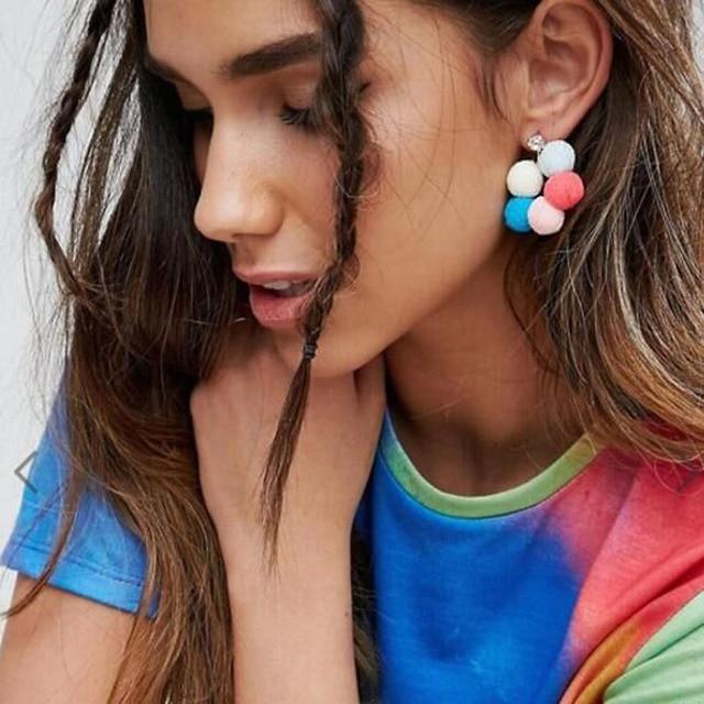 Dvacaman Неон пузырь разноцветные шары цветы мотаться серьги pom большой Pendientes заявление Винтаж Серьги для Для женщин 6382