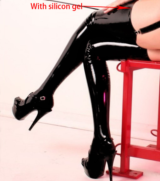Lady's Black Pole Dance Stockings Patent Leather Clubwear Length 90cm Micro Mini Latex Stockings Thighs With Non-slip Rubber