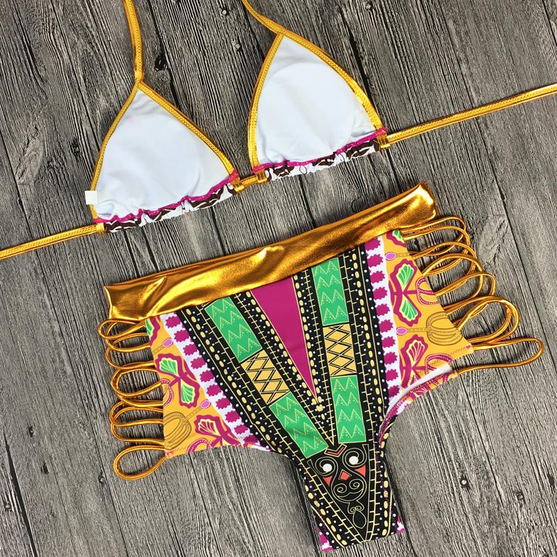 2017 South African golden halter bikini Set high waist swimsuit two pieces swimwear women bathing suit bather maillot de bain 14