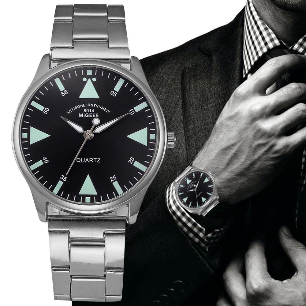Man Wrist Watch Crystal Stainless Steel Analog Quartz man watches men watch metal relogio masculino