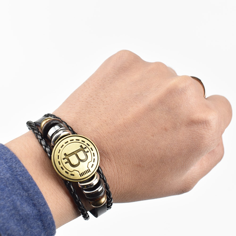 2019 New Bitcoin Bit Coin Bracelet Antique Brass Bracelets Handmade Gift Cryptocurrency Coin