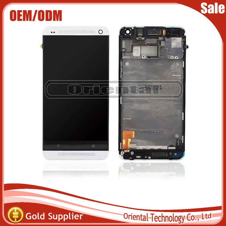 Best Quality LCD Screen For HTC One M7 LCD Display with Touch Screen Digitizer With frame  Free Shipping lcd screen display touch panel digitizer with frame for htc one m9 black or silver or gold free shipping