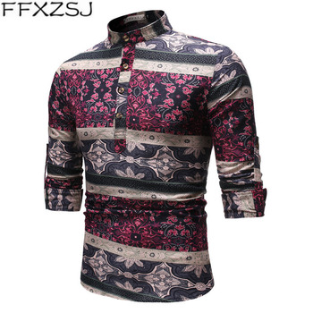 men's spring/autumn printed long-sleeved casual linen shirt with stand-up collar, European size  Pullover Stand Casual Shirts big stand up 2019 05 23t20 00