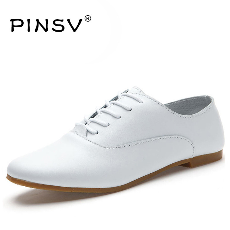 Aliexpress.com  Buy Hot Sale White Genuine Leather Shoes Women Flats Shoes Spring Autumn Oxford ...