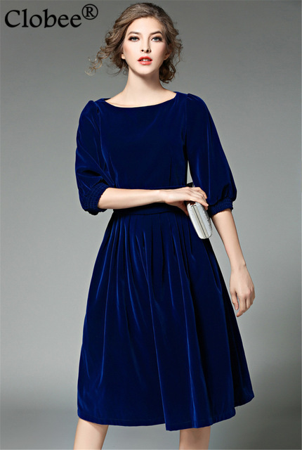 Runway Dresses 2017 Spring Summer Blue Red Velvet Dress Women Half Sleeve Vintage Priness Pleated Party Vestidos In From S Clothing