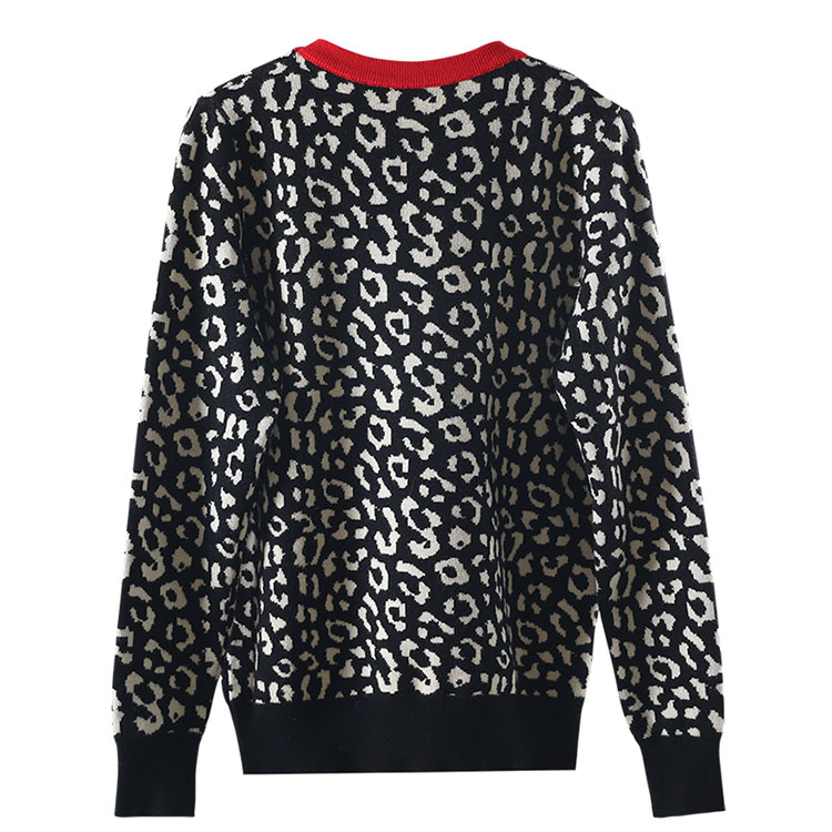 Autumn winter women sweaters leopard knitted pullovers long sleeve Contrast Color crewneck jumpers sweter mujer C-429 9