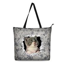 Canvas Shopping Bag Personalized Tote Bags Shoulder Digital Camouflage Animal Design Black Grocery Cotton Handbag