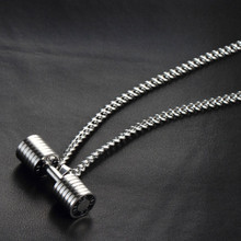 Men Stainless Steel GO FIT Dumbbell Pendant Necklace Gym Sporty Fitness Titanium Steel Barbell Pendant Necklace